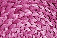 Round słomy maty tekstura w menchii brzmieniu Obraz Stock