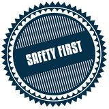 Round SAFETY FIRST blue sticker. Illustration image concept Royalty Free Stock Images
