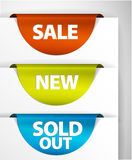 Round Sale / New / Sold out label set Royalty Free Stock Images