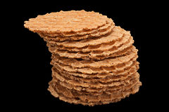 Round salted wafer on black Stock Photo