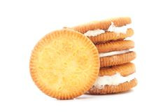 Round sandwich biscuit with white cream Stock Images