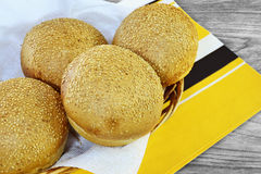 Round sandwich buns with sesame seeds Stock Photos