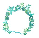 Round sea frame made of starfishes, shells and algae vector illustration