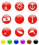 Round sea icon. Round icon with sea design, good for different type of design Stock Illustration