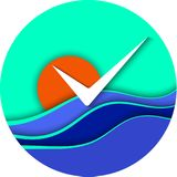 Round sea or ocean icon. Blue Waves, orange sun and seagull on blue sky background. Bright EPS 10 Vector illustration. Round sea or ocean icon. Blue Waves Stock Photo