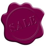 Round seal. Round wax seal with sale sign stock illustration