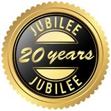 Gold jubilee seal. Round seal colored black and gold for twenty years jubilee vector illustration