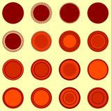 Round seal shapes in orange-brown colors Stock Photos