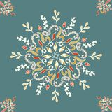Round seamless pattern ornament with intertwined branches, flowers and curls. Arabesque. Vector circular abstract floral. Mandalas in white, black and blue stock illustration