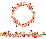 Round season wreath with autumn leaves, asters and twigs  isolated. Royalty Free Stock Images