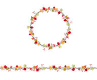 Round season wreath with maple leaves and twigs  isolated on white. Royalty Free Stock Images