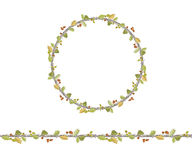 Round season wreath with oak leaves,twigs  and acorns isolated on white Royalty Free Stock Image