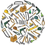 Round  set with tools. Colorful hand drawn round  set with tools Stock Images