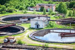 Round settlers at sewage treatment plant, aerial view Stock Image