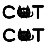 Round shape black cat text icon set. Lettering. Cute cartoon character. Kawaii animal. Big tail, whisker, eyes. Happy emotion. Kit. Ty kitten Baby pet collection Stock Photography