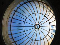 Round shape ceiling and structures in building. Shot of round shape ceiling and structures in building stock photos