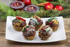 Round shape chocolate christmas cakes Royalty Free Stock Image