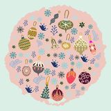 Round shape with Christmas tree decorations on pink texture background. Flat style illustration. Greeting card, poster, design element royalty free illustration