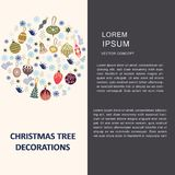 Round shape with Christmas tree decorations and text. Flat style illustration. Greeting card, poster, design element royalty free illustration