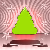 Round shape christmas tree on pink ribbon card Royalty Free Stock Photography