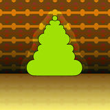 Round shape christmas tree on yellow pattern Royalty Free Stock Photography