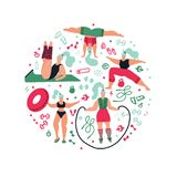 Round shape composition Women doing sports.Poses of yoga, exercises for health, fitness, swimming. Cute girls  flat illustration. stock illustration