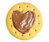 Round shape cookies with chocolate heart Royalty Free Stock Photography