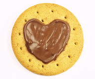 Round shape cookies with chocolate heart isolated on white Royalty Free Stock Image