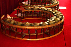 Round shape gongs - Thai musical instruments. Round shape gongs - The picture of some musical instruments used in the traditional and classical music of Thailand royalty free stock images