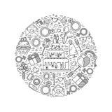 Round shape illustration of wedding stock illustration