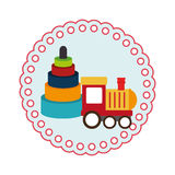 Round shape with kids toys and train Royalty Free Stock Photo