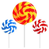 Round shape lollipops on white background Royalty Free Stock Photo