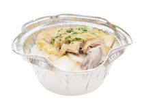 Round shape lunch box of boiled chicken slices with clipping path Stock Images