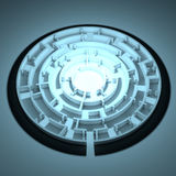 Round shape maze with same enter and exit Royalty Free Stock Image