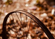 Isolated parts of a metallic bicycle wheel ring stock images