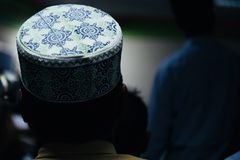 A round shape muslim cap unique photo. Isolated cotton made caps for muslim people unique photo stock photos