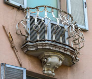 Round shape old balcony. Little old round balcony in Rimini, Italy Stock Images