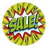 Round shape sale tag. Green sale web banner. Pop art comic sale discount promotion banner. Big sale background Stock Photography