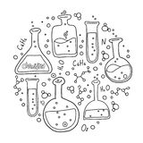 Round shape Set of laboratory equipment in black and white outlined doodle style. Print composition of Hand drawn chemistry and vector illustration