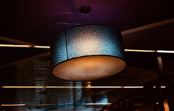 Beautiful interior decoration lights unique photograph. A round shape stylish decoration lights of a food court restaurant object unique photograph stock photography