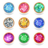 Round shape top view bezel colored gems stock illustration