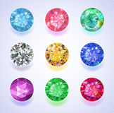 Round shape top view colored gems vector illustration