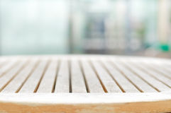 Round shape wood table top on blur gray background Royalty Free Stock Photos