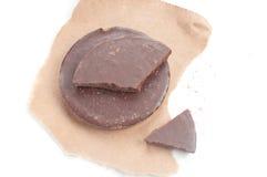 Round shaped chocolate chunk Stock Photos