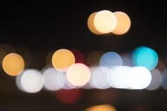 Street lights blurred circles, street lights at night stock photo