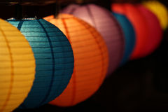 Round Shaped Lanterns. Round colorful lanterns lit up on the occasion of Diwali  festival in India Royalty Free Stock Photo