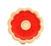Round shaped strawberry biscuit close up Royalty Free Stock Photography