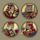 Round shapes with faces of playing cards characters. Original vintage design in gold, red, blue and black colors. There is in addition a vector format EPS 8 Stock Photos
