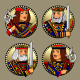 Round shapes with faces of playing cards characters. Original vintage design in gold, red, blue and black colors. There is in addition a vector format EPS 8 Stock Images