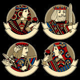 Round shapes with faces of playing cards characters and ribbons Stock Photography